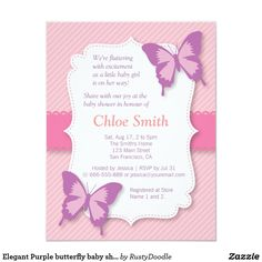 Shop Elegant Purple butterfly baby shower Invitation created by RustyDoodle. Baby Shower Cards, Baby Shower Themes, Baby Shower Invitations, Shower Ideas, Baby Cards, Custom Invitations, Butterfly Baby Shower, Butterfly Party, Elegant Baby Shower
