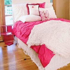 Buy your Hot Pink Pin-Tucked Duvet Cover by Davenport here. The Hot Pink Pin-Tucked Duvet Cover is the perfect stylish finishing touch for your room! Part of the Hot Pink Bedding Hot Pink Bedding, Girls Pink Bedding, Girl Bedding, Queen Bedding, Modern Duvet Covers, Bed Covers, Teen Girl Bedrooms, Teen Bedroom, Duvet Sets