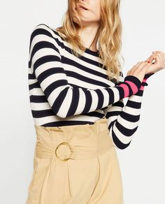Image 2 of CROPPED STRIPED SWEATER from Zara