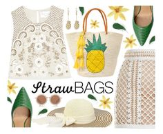 """""""Carry on: Straw Bags"""" by ana3blue ❤ liked on Polyvore featuring Needle & Thread, Balmain, Sensi Studio, Salvatore Ferragamo, House of Holland and Paul & Joe"""