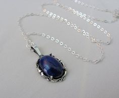 14x10mm Lapis Lazuli Necklace in Sterling Silver, Lapis Pendant