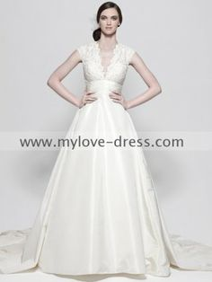 Simple Princess Elegant Lacing Sleeves Empire Satin V-Neck Wedding Dress On Sale