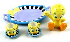 Miniature TWEETY BIRD TEA SET Ceramic with Stripes Teapot 1999 Warner Bros