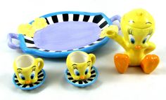 Miniature TWEETY BIRD TEA SET Ceramic with Stripes Teapot 1999 Warner Bros