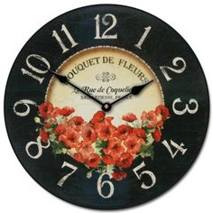 Bouquet de Fleurs Poppies Wall Clock, Available in 8 sizes, Most Sizes Ship days, Whisper Quiet. Clocks Back, Big Clocks, Clocks For Sale, Wall Clocks, Bedroom Clocks, Living Room Clocks, Floral Clock, Floral Wall, Shabby Chic Clock