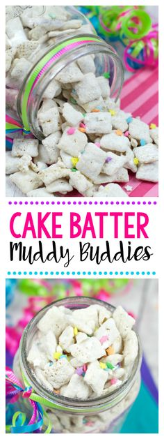 Cake Batter Muddy Buddies is part of Chex snack mix recipes Simple - These cake batter muddy buddies are so addicting you won't be able to stop eating them! Easy to make, they look fun and they are a perfect treat! Puppy Chow Recipes, Chex Mix Recipes, Baking Recipes, Snack Recipes, Dessert Recipes, Coconut Recipes, Paleo Recipes, Easy Recipes, Dinner Recipes
