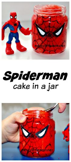Messy Little Monster: Spiderman Cake in a Jar: Recycled Baby Food Jar