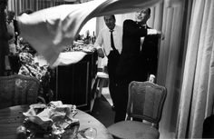 """Sinatra. (John Dominis. """"In Miami in 1965, Frank Sinatra tosses a tablecloth after yanking it from a cluttered tabletop."""" LIFE Magazine. -- Classic.)"""