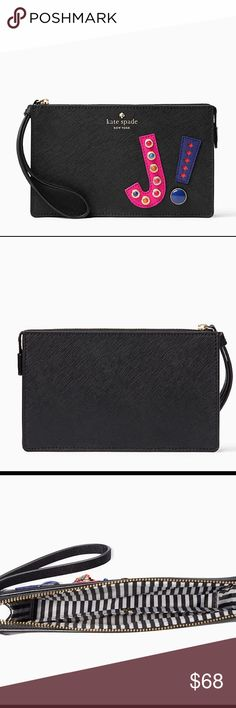 """NEW! Kate Spade Hartley Lane Initial """"J"""" Wristlet NWT! hartley lane initial leila initial Wristlet.  express yourself: the hartley lane leila--a zip-top wristlet roomy enough for all of your essentials (including your iphone)--is decorated with the initial of your choice, in bright embellished leather   Crosshatched leather with matching trim, quick & curious lining, 14-karat gold plated hardware, interior slide pocket kate spade Bags Clutches & Wristlets"""