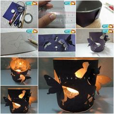 porta candele e farfalle - DIY Butterfly Candle Holder Easy Arts And Crafts, Diy And Crafts, Crafts For Kids, Paper Crafts, Borboleta Diy, Diy Projects To Try, Craft Projects, Project Ideas, Craft Ideas