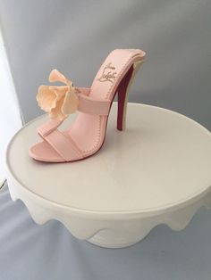 Items similar to Gumpaste sugar fondant shoe heel cake topper with sugar flower christian Louboutin inspired also great for sweet tables! on Etsy High Heel Cakes, Shoe Cakes, Cupcake Cakes, Purse Cakes, Cake Decorating Designs, Cake Decorating Classes, Camo Wedding Cakes, White Wedding Cakes, Chocolate Centerpieces
