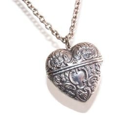 Sterling Heart Locket Pendant Necklace Vintage Art Nouveau Victorian... (7.750 RUB) ❤ liked on Polyvore featuring jewelry, vintage pendant necklace, vintage locket, pendant necklace, victorian locket and vintage victorian jewelry