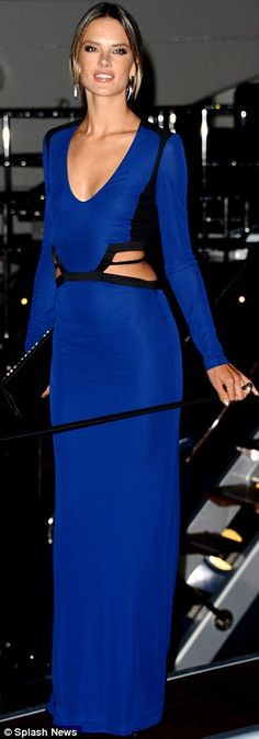 Alessandra Ambrosio wore blue to a party on the Roberto Cavallis yacht in France on Wednesday