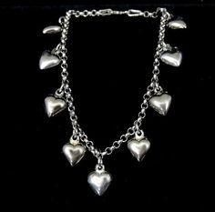Sterling HEART Charm Bracelet Italy Vintage by PremierAntiquesNY