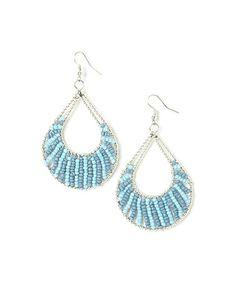 Love this Silver & Blue Beaded Teardrop Earrings on #zulily! #zulilyfinds