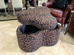 "Leopard Storage Ottoman  33""w x 20"" h  Reg. $599.  Now just $299. (final price-as is)"