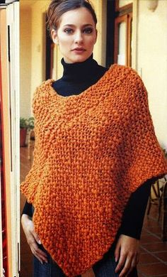 iKnitts: Patron easy to knit poncho - Spanish instructions can be translated on the website