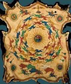 Buffalo Hide Print, Native American style, Plains Indian ledger art, horses, warriors, buffalo, eagles, turtles, &  White Buffalo. $20.00, via Etsy.