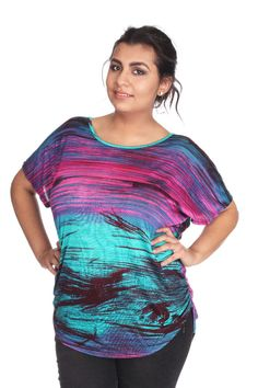 Womens Plus Size 1X 2X 3X Top Blouse Shirt Pink Aqua Black Back Lace Made in USA #HenryFerreraCollection #Blouse #Casual