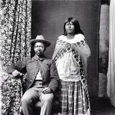 Buffalo Soldier and Native American Wife.  In the Mid 19th Century people of color lived in relative safety near the Mexican Settlements of U.S. Spanish speaking territories. People of Color, Native American Indian & Native People of Mexico intermarried & created unique cultures & combined various transitions (photo taken in the 1800's).