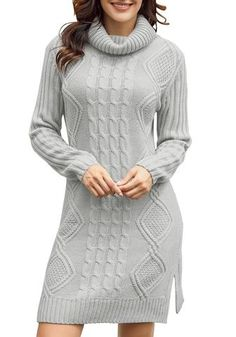 Be so pretty even when it's windy as you wear this grey turtleneck cable knit side slit pullover sweater dress with your light makeup and heeled booties. Grey Turtleneck, Long Sleeve Turtleneck, Tunic Sweater, Pullover Sweaters, Bra Sizes, Cable Knit, Turtle Neck, Knitting, Casual
