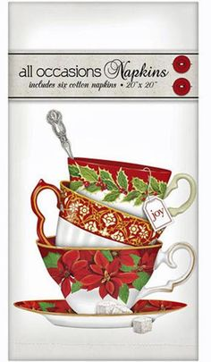 "Festive Poinsettia Teacups Stack - Set of 6 Cotton Holiday Christmas Napkins - 20"" x 20"""