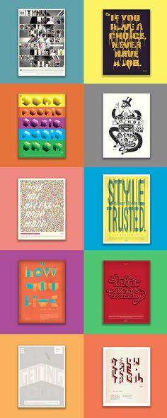 10 Carteles tipográficos Milton Glaser. by Carlos Sanabria, via Behance