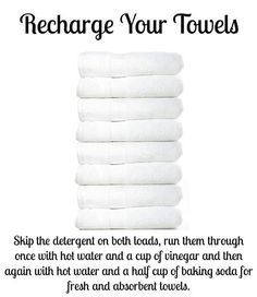 Over time, towels build up detergent and fabric softener, leaving them unable to absorb as much water. I use baking soda and fill the fabric softener dispenser with vinegar. Only have to wash once, and works with cold water too!