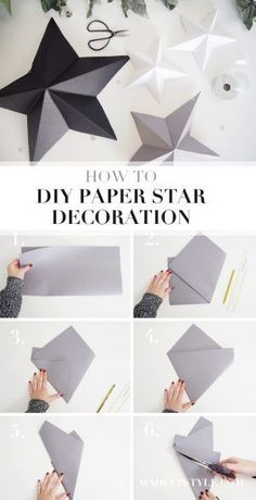 DIY Paper Star Decoration A stylish way to decorate this Christmas. Here's how I got on making my own DIY paper star decorations and how you can make some too. DIY Paper Star Decoration Related Post Rainbow Paper Craft for Kids Easy Craft Idea for T. Decoration Christmas, Christmas Paper Crafts, Decoration Crafts, Origami Decoration, Diy Christmas Paper Decorations, Ramadan Decorations, Diy Party Decorations, Christmas Projects, Holiday Decor