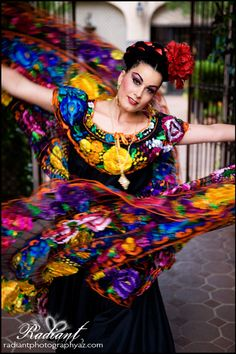 Mexican Dancer in traditional Chiapas dress (beautiful)