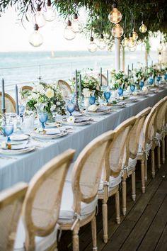 Long Table Wedding, Boat Wedding, Beach Wedding Reception, Seaside Wedding, Sea Wedding Theme, Beach Weddings, Nautical Wedding Decor, Coastal Wedding Ideas, Blue Beach Wedding