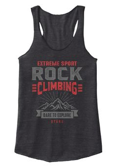 Extreme Sport Rock Climbing Dare To Explore Dtur Eco Black T-Shirt Front
