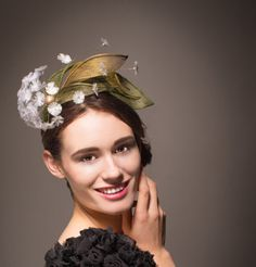 Unique White dandelion flower hat/ fascinator headband in green and gold. Kentucky Derby, Spring Races and weddings and bridal