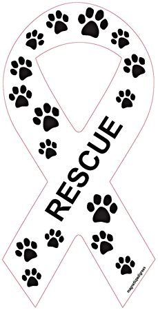 Ribbon Rescue with Paws Dog Car Magnet http://doggystylegifts.com/collections/ribbon-magnets/products/ribbon-rescue-with-paws-dog-car-magnet