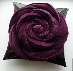 Купить Подушка Роза. Декоративная. - тёмно-фиолетовый, подушка цветок роза…
