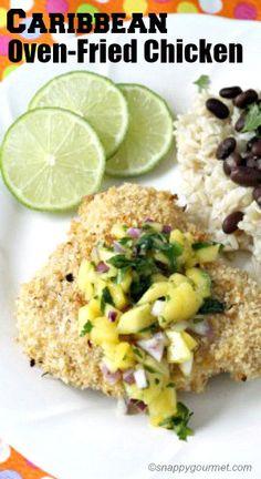 Caribbean Oven-Fried Chicken - easy homemade family dinner! SnappyGourmet.com
