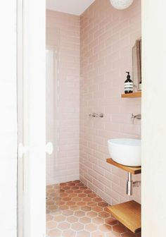 Great blend of old and new here: the old terra cotta floor tiles with the beveled subway and modern fixtures.
