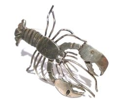 SIGNED STERLING SILVER VINTAGE ARTISAN LOBSTER SCULPTURE FIGURE BROOCH PIN #ASSIGNED