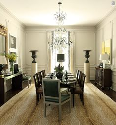 Grand Dining Room, Atlanta - transitional - dining room - atlanta - by Robert Brown Interior Design Interior Design Atlanta, Home Interior, Interior Ideas, Antelope Rug, Chateau Hotel, Brown Interior, Classic Interior, Beautiful Dining Rooms, Design Blog