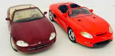 Set Of 2 Scale Maisto Convertible Jaguar Maroon Ford Mustang Mach 3 Red Michael Best, Jaguar Xk8, Jaguar Models, Ford Mustang Gt, Diecast Model Cars, Scale Models, The Ordinary, My Ebay, Convertible