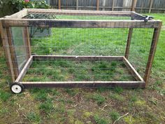 Cheap, portable chicken tractor out of recycled wood and plexi access panel. For letting the girls move about the yard.