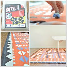 """Make it: Rug From Dropcloth- Aztec Wonder~ Supplies: Dropcloth, sponges, paint, """"(you won't need a large amount. I used the sample sizes from Dutch Boy. Try to have 3 different colors for the accent and 1 base color) roller (if you choose to use one for the base coat) clear sealer (I will use this spray sealer when the weather warms)."""""""