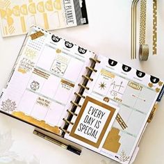 """This #HappyPlanner spread created by mambi Design Team member @noviventure contained a gold foil 'Every Day is Special' pre-punched Inspiration Card along with some #goldfoil 'To Do' stickers from The Happy Planner™ line. On the @meandmybigideas blog today. ✨✨"" Photo taken by @the_happy_planner on Instagram, pinned via the InstaPin iOS App! http://www.instapinapp.com (10/21/2015)"