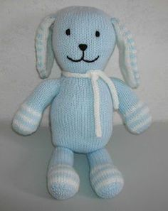 Pattern for knitting a rabbit comforter - The challenge of solidarity knitting - Modèle pour tricoter un doudou lapin – Le challenge du tricot solidaire How to knit a blue rabbit comforter? Supply: Wool: blue, white, black Needle n ° 3 Synthetic fill … Crochet Fabric, Knitted Dolls, Knit Patterns, Knitting Projects, Dinosaur Stuffed Animal, Rabbit, Fiber Art, Challenges, Teddy Bear