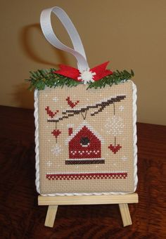 finished completed cross stitch Christmas ornament RED BIRDHOUSE LAST CHANCE   | eBay