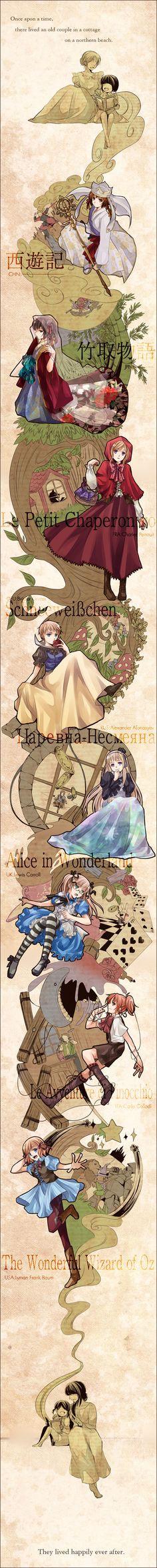 And they lived happily ever after. Hetalia (female) x Fairy Tales :) Journey To The West, England, Hetalia Axis Powers, Kaichou Wa Maid Sama, Kawaii, Japan, Awesome Anime, Anime Manga, France