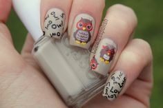 Image discovered by Mireille. Find images and videos about nails, nail art and owl on We Heart It - the app to get lost in what you love. Crazy Nails, Fancy Nails, Cute Nails, Sexy Nails, Pretty Nails, Owl Nail Art, Owl Nails, Nail Art Designs, Fingernail Designs