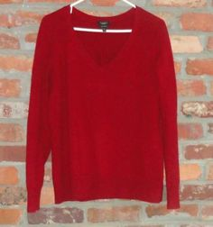$49.95 Women's Talbots 100% Cashmere Red V Neck Long Sleeve Sweater Size: XL Free Shipping