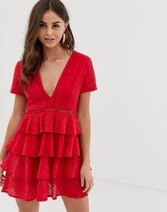 a30f7bccd956 PrettyLittleThing - Vestitino in pizzo rosso con gonna a strati
