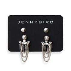 Lezark Ear Jackets in Silver by Jenny Bird